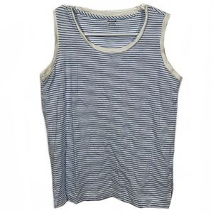 Madewell Blue Microstriped Casual Tank Top